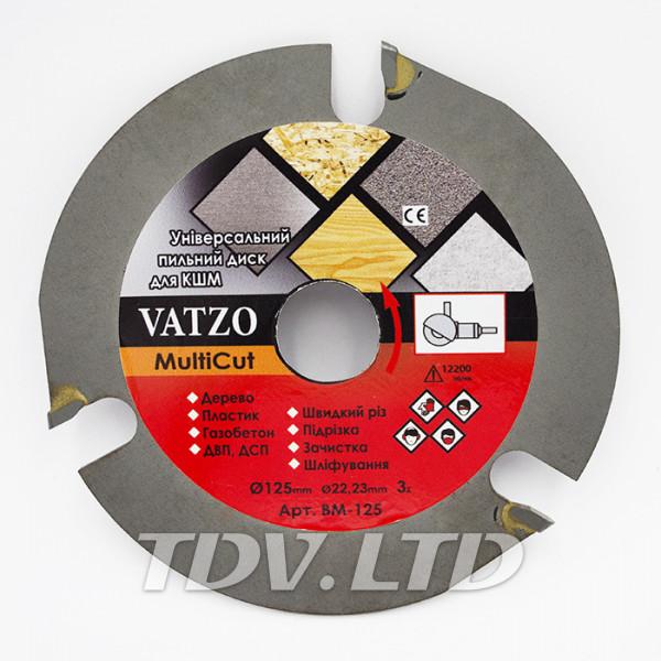 Диск пильный трёхзубовый Vatzo Ø125мм на болгарку